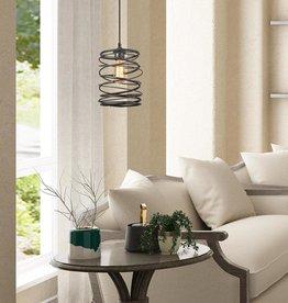 LNC Farmhouse Pendant Lighting, Industrial 1-Light Mottled Black Mini Pendant Chandelier, Cage Kitchen Light Fixture
