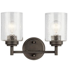 Kichler Winslow 2-Light Olde Bronze Vanity Light with Clear Seeded Glass