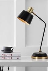 JONATHAN Y Rochelle 23 in. Black/Brass Gold Metal Task Lamp