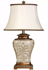STYLECRAFT HOME CLLCTIONS 28 in. Antique White With Gold Accents Table Lamp with White Fabric Shade