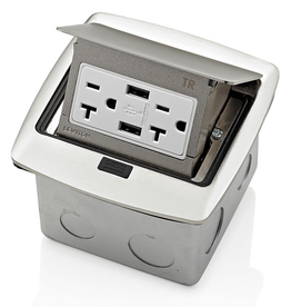 Leviton Pop-Up Floor Box with Dual Type A, 3.6 Amp USB Charger, 20Amp Outlet, Brushed Nickel
