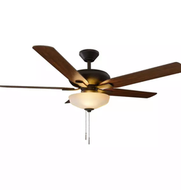 Hampton Bay Holly Springs 52 in. LED Indoor Oil-Rubbed Bronze Ceiling Fan with Light Kit