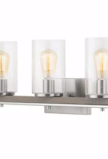 Hampton Bay Boswell Quarter 3-Light Brushed Nickel Vanity Light with Painted Weathered Gray Wood Accents