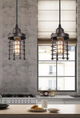LNC Edison Farmhouse 1-Light Bronze Industrial Rustic Island Bar Pendant Light with Dynamic Cage Shade