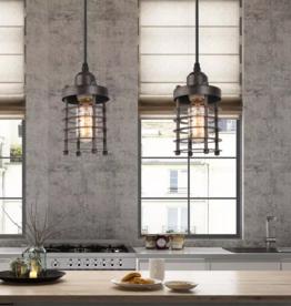 LNC Edison Farmhouse 1-Light Bronze Industrial Rustic Island Bar Pendant Light with Dynamic Cage Shade