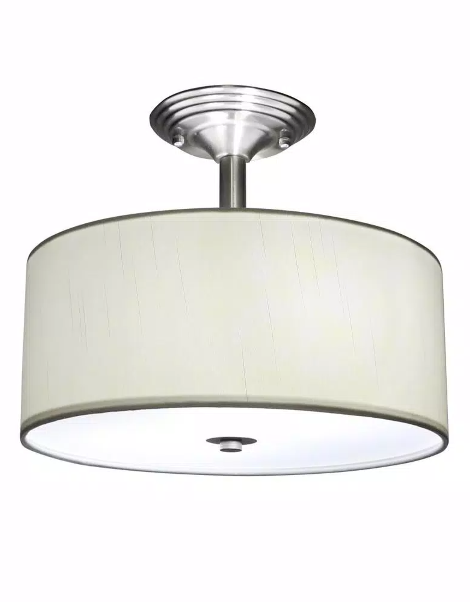 Merra 13 in. 2-Light Brushed Nickel Semi-Flush Mount Light with Fabric Drum Shade