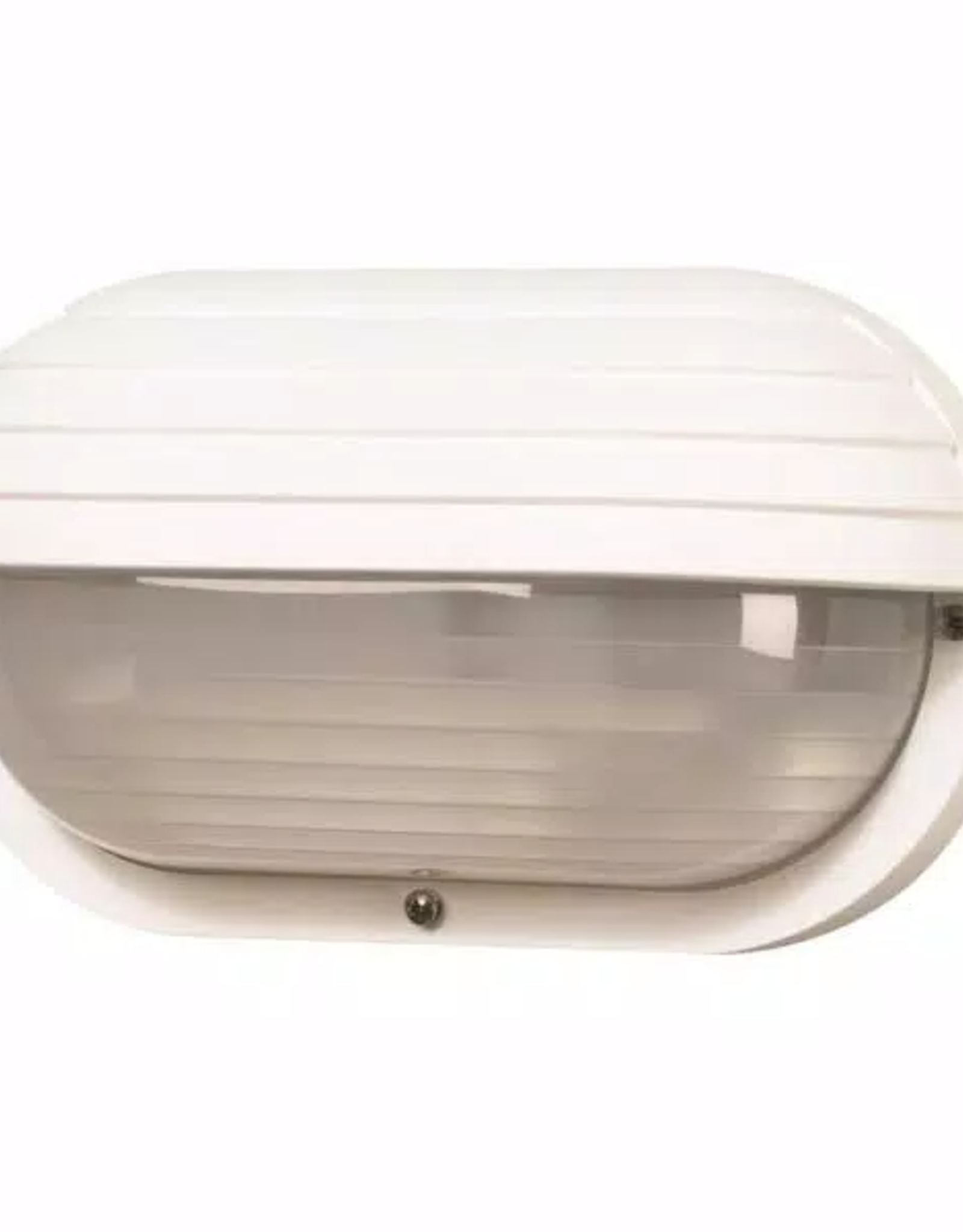 Nautical 1-Light White 4000K ENERGY STAR LED Outdoor Wall Mount Sconce with Eyelid & Durable Frosted Polycarbonate Lens