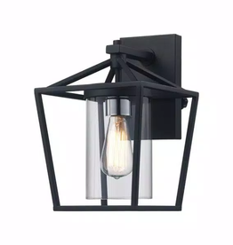 Monteaux Lighting Monteaux 1-Light Black Outdoor Wall Lantern with Clear Glass