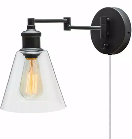 leclair LeClair 1-Light Dark Bronze Plug-In or Hardwire Industrial Wall Sconce