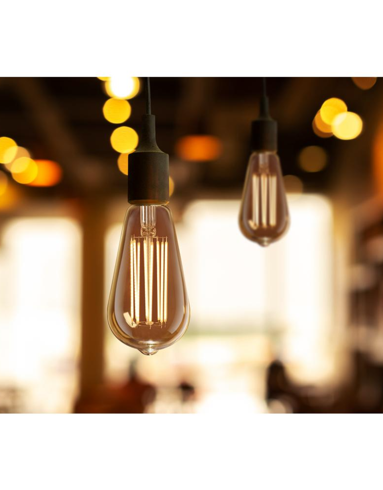 Feit Electric 60-Watt Equivalent ST19 Dimmable Amber Glass Vintage Edison LED Light Bulb With Straight Filament Warm White (Single)