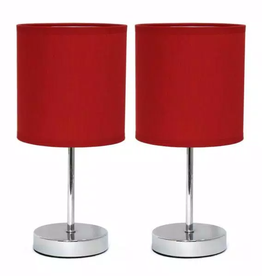 Simple Designs 11.89 in. Chrome Mini Basic Table Lamps with Red Fabric Shades (2-Pack)