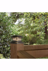 Hampton Bay Solar 4 in. x 4 in. Bronze Outdoor Integrated LED Deck Post Light with 6 in. x 6 in. Adapter (2-Pack)