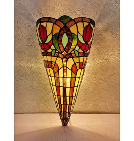 Amora Lighting 2-Light Tiffany Style Brown Yellow Red Flower Stained Glass Wall Crowned Sconce