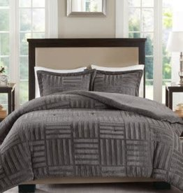JLA HOME/E & E CO LTD Polar 3-Piece Grey Full/Queen Comforter Set