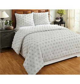 BETTER TRENDS LLC Athenia Collection in Polka Dot Design Gray King 100% Cotton Tufted Chenille Comforter