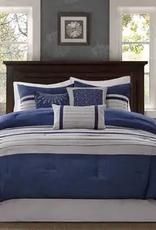 JLA HOME/E & E CO LTD Madison Park Blaire King 7 Piece Comforter Set in Navy