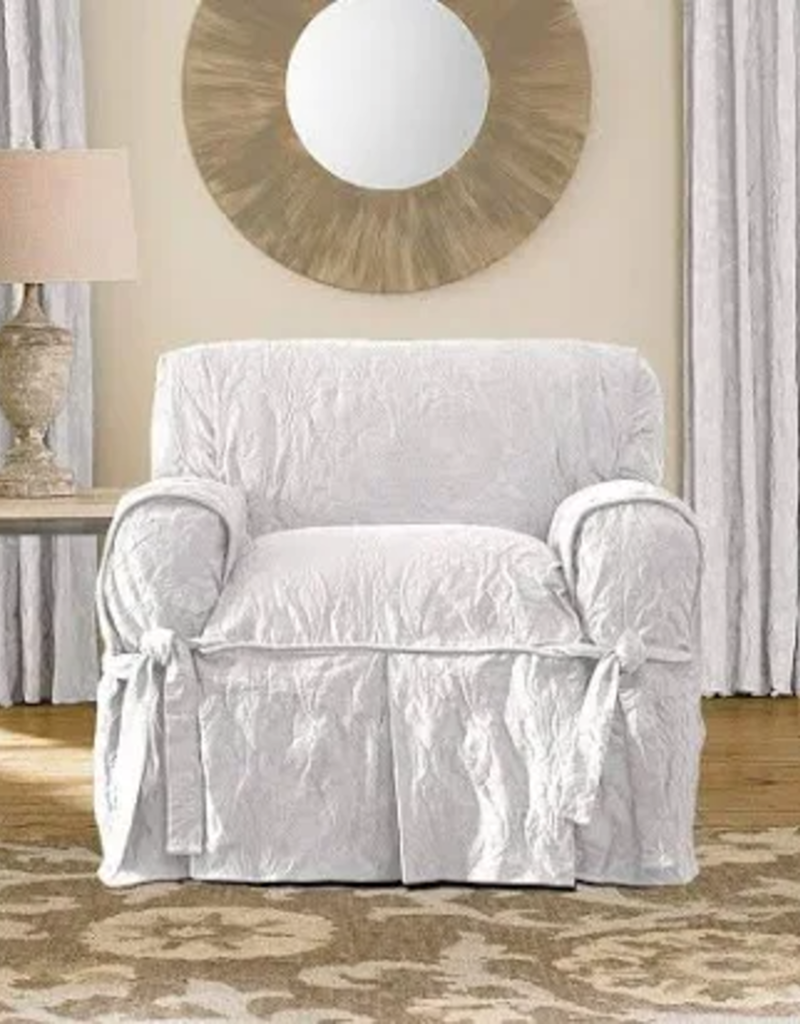 SURE FIT HOME PRODUCTS LLC White Matelasse Damask Slipcover
