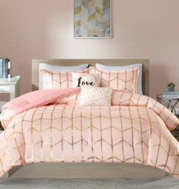 JLA HOME/E & E CO LTD INTELLIGENT DESIGN RAINA METALLIC PRINTED COMFORTER SET TWIN/TWIN XL