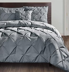 TEXTILES-EUROPE INC VCNY Home | Carmen Collection | Super Soft Microfiber Duvet Cover, Cozy and Relaxing 3 Piece Bedding Set, Chic and Modern Design for Home Décor, King, Grey