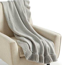 MMG-MARTHA STEWART-EDI/SAMANTHA Whim by Martha Stewart Throw Blanket Ruffle GREY
