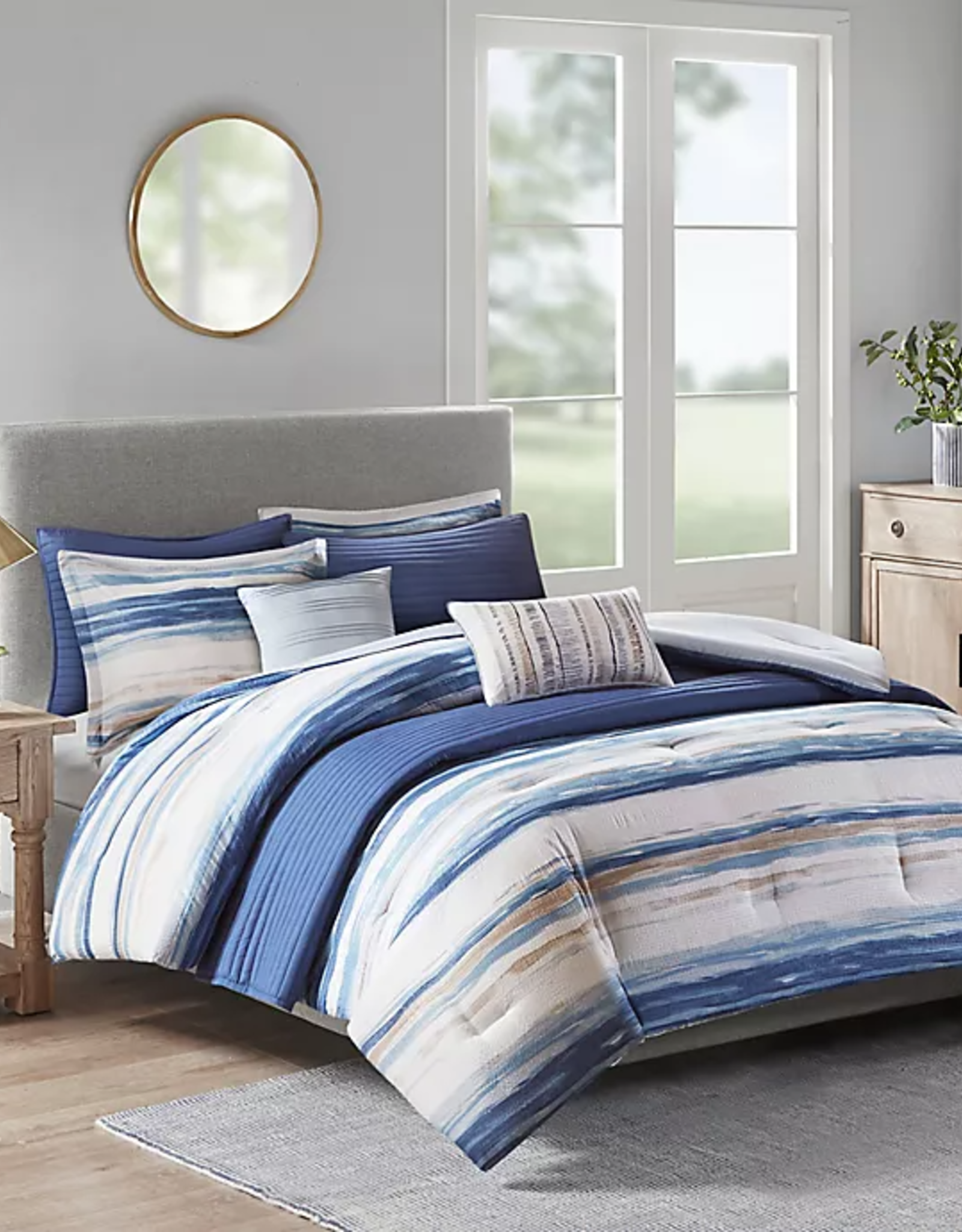 JLA HOME/E & E CO LTD Madison Park King/Cal King 8 Piece Printed Seersucker Comforter & Coverlet Set Collection in Blue