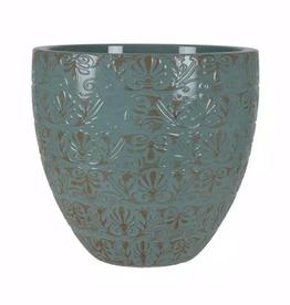 Grosfillex Fairfield 12 in. W x 10.4 in. H Jadeite Patina Resin Decorative Planter