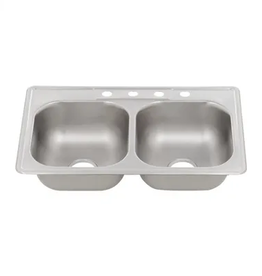 Glacier Bay Drop-In Stainless Brushed Steel 33 in. 4-Hole Double Bowl Kitchen Sink
