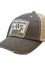 Vintage Life Weekends Coffee & Dogs Distressed Trucker Cap