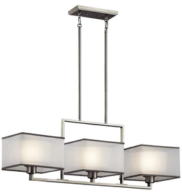 Kichler Kailey 3-Light Brushed Nickel Linear Chandelier with White Frosted Glass Shade