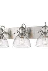 Golden Lighting Hines 3-Light Pewter with Seeded Glass Bath Vanity Light