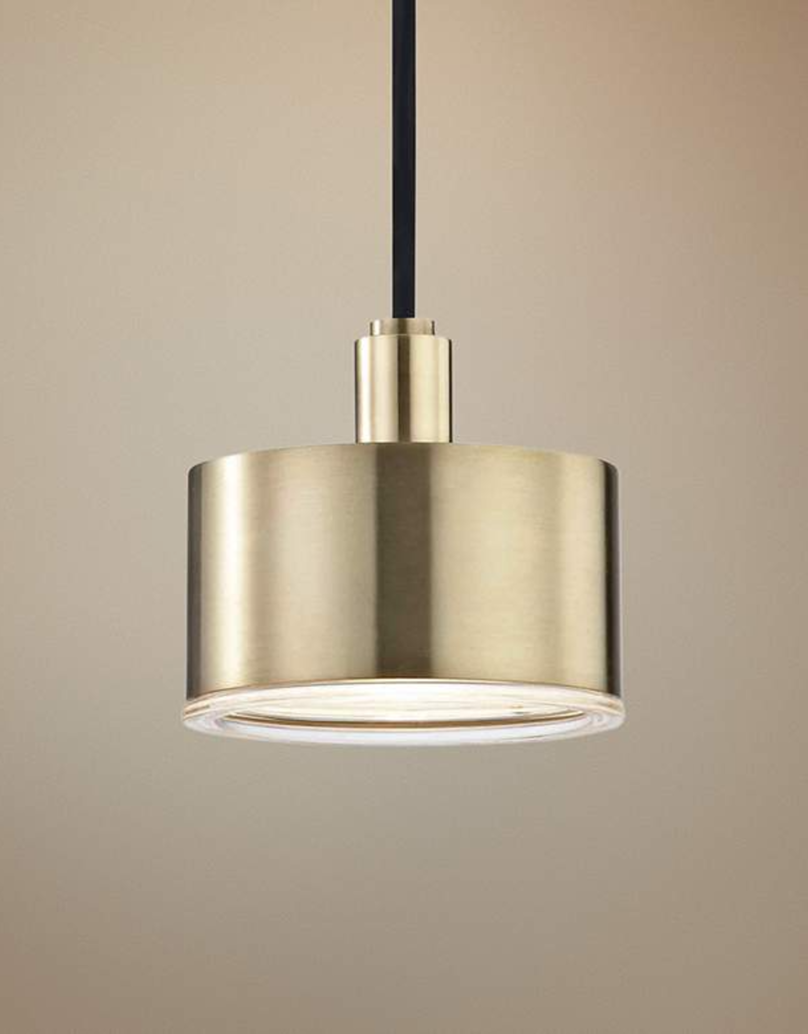 Mitzi Nora 1-Light Aged Brass LED Pendant with Clear Glass