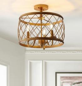 JONATHAN Y Eleanor 15 in. 3-Light Antiqued Gold Metal LED Semi Flush Mount Ceiling Light