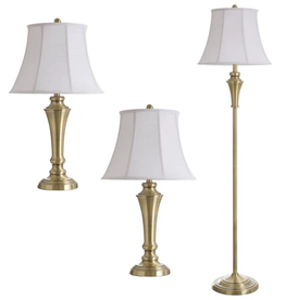 STYLECRAFT HOME CLLCTIONS 61 in. Brass Lamp Set (3-Piece)