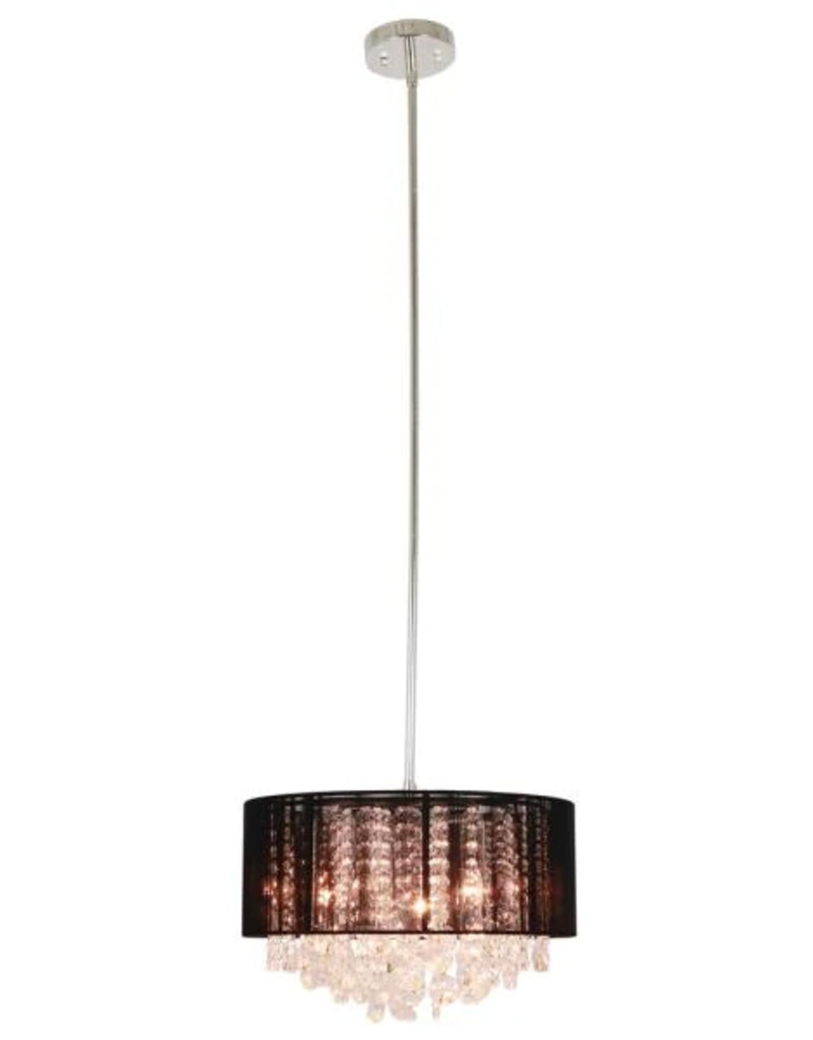 Decor Therapy Serra 1-Light Polished Nickel Black String Beaded Pendant