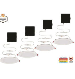 Commercial Electric Ultra Slim 6 in. Color Selectable New Construction and Remodel Canless Recessed Integrated LED Kit (4-Pack)