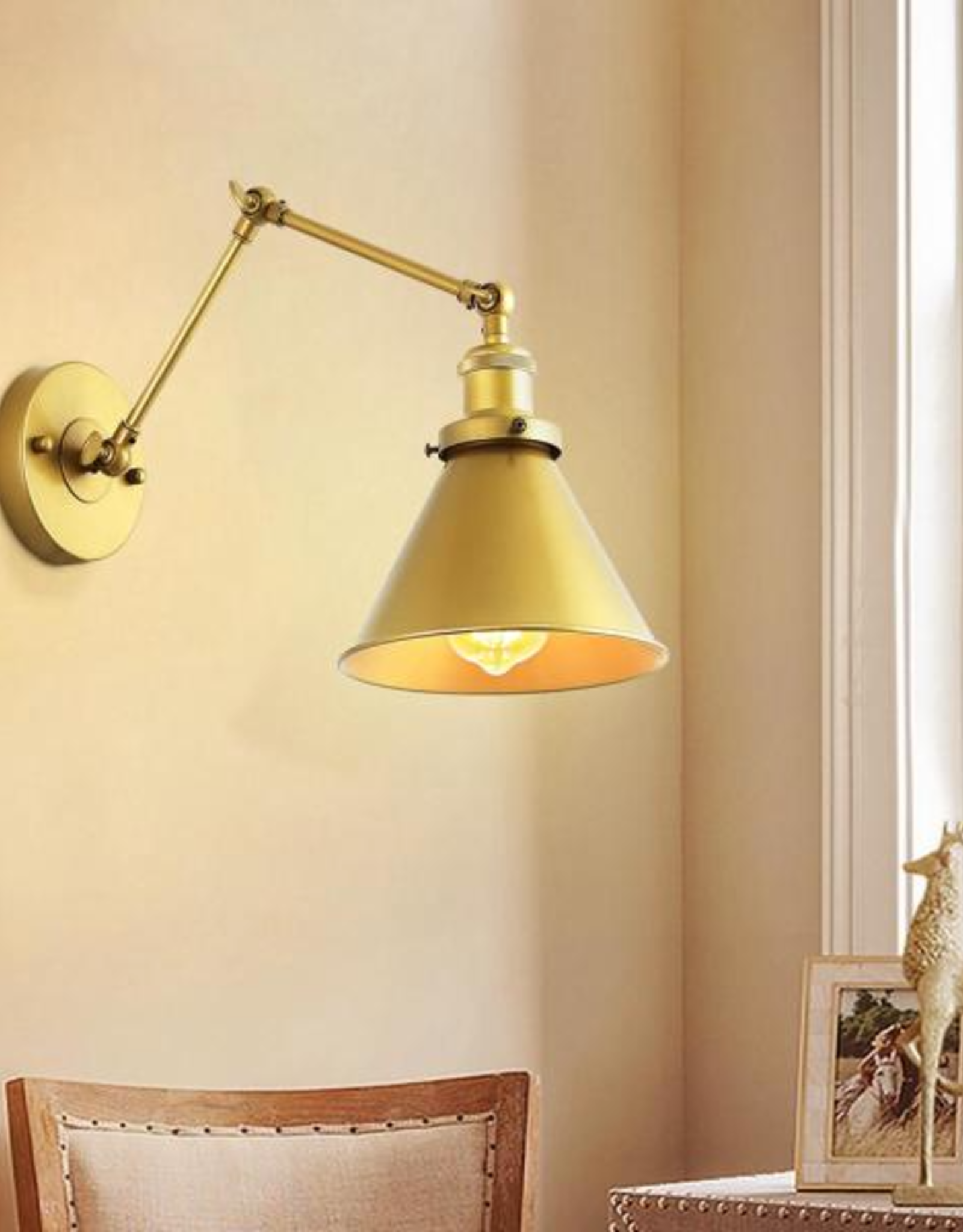 LNC Robi Brushed Gold Adjustable Metal Swing Arm Plug-In Wall Sconce