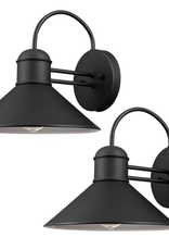 Global Electric Sebastien 1-Light Black Outdoor Wall Lantern Sconce (2-Pack)