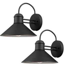 Global Electric Sebastien 1-Light Black Outdoor Wall Lantern Sconce (2-Pack)
