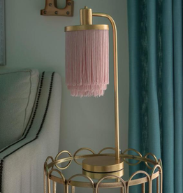 Decor Therapy Framboise 26.5 Gold Table Lamp with Fringe Lamp Shade