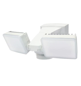 IQ America 240-Degree White Motion Activated Outdoor Integrated LED Twin Flood Lights with 2100 Lumens