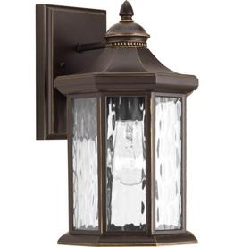 Progress Lighting Edition Collection 1-Light Antique Bronze Water Glass Traditional Outdoor Medium Wall Lantern Light