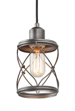 LNC Modern Farmhouse 1-Light Mini Pendant with Dark Pewter Geometric Openwork Cage Design Shade