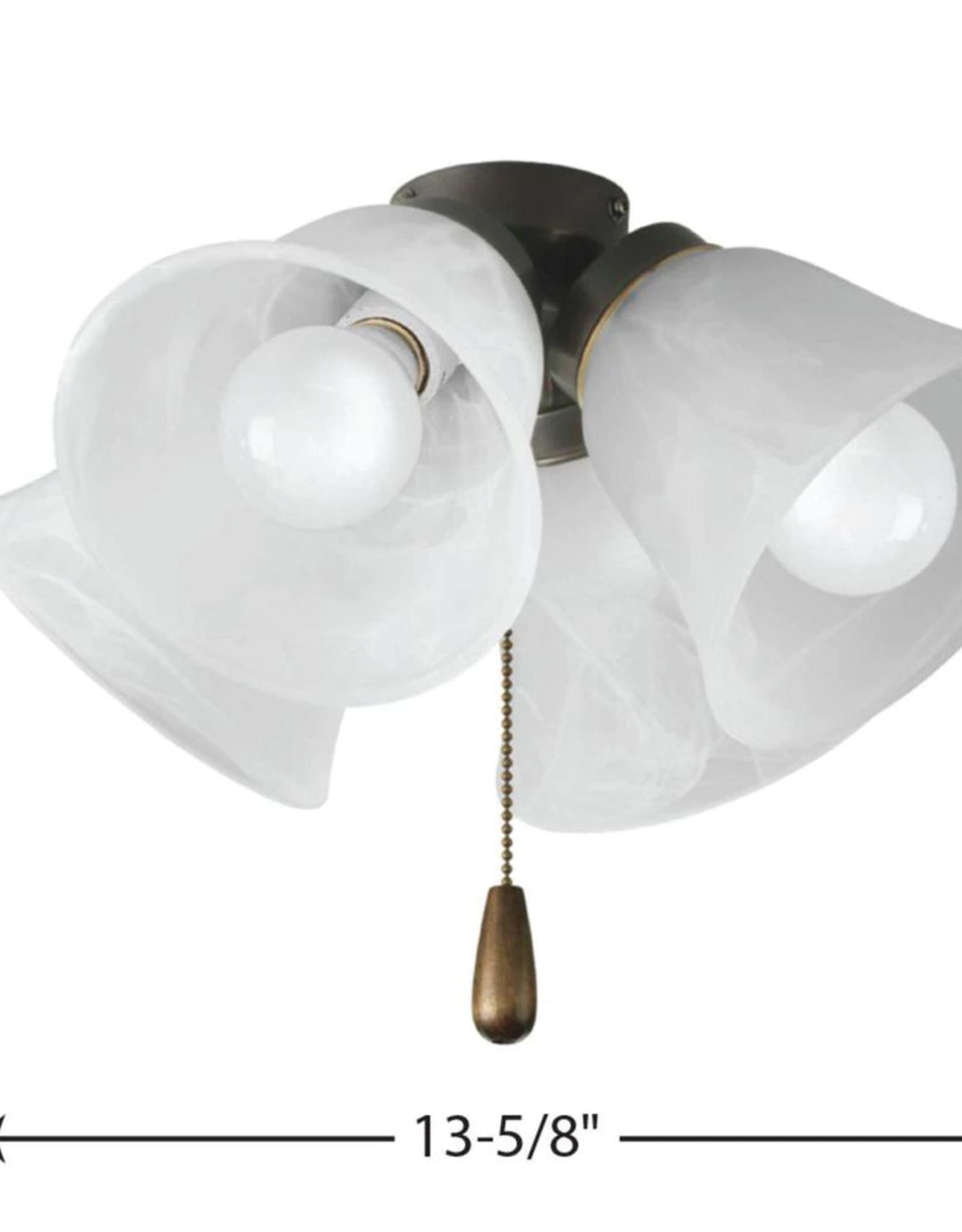 Progress Lighting Fan Light Kits Collection 4-Light Antique Bronze Ceiling Fan Light Kit