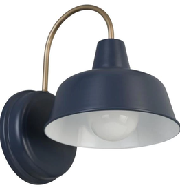 Design House Mason 1-Light Matte Navy and Gold Outdoor Wall Light Sconce