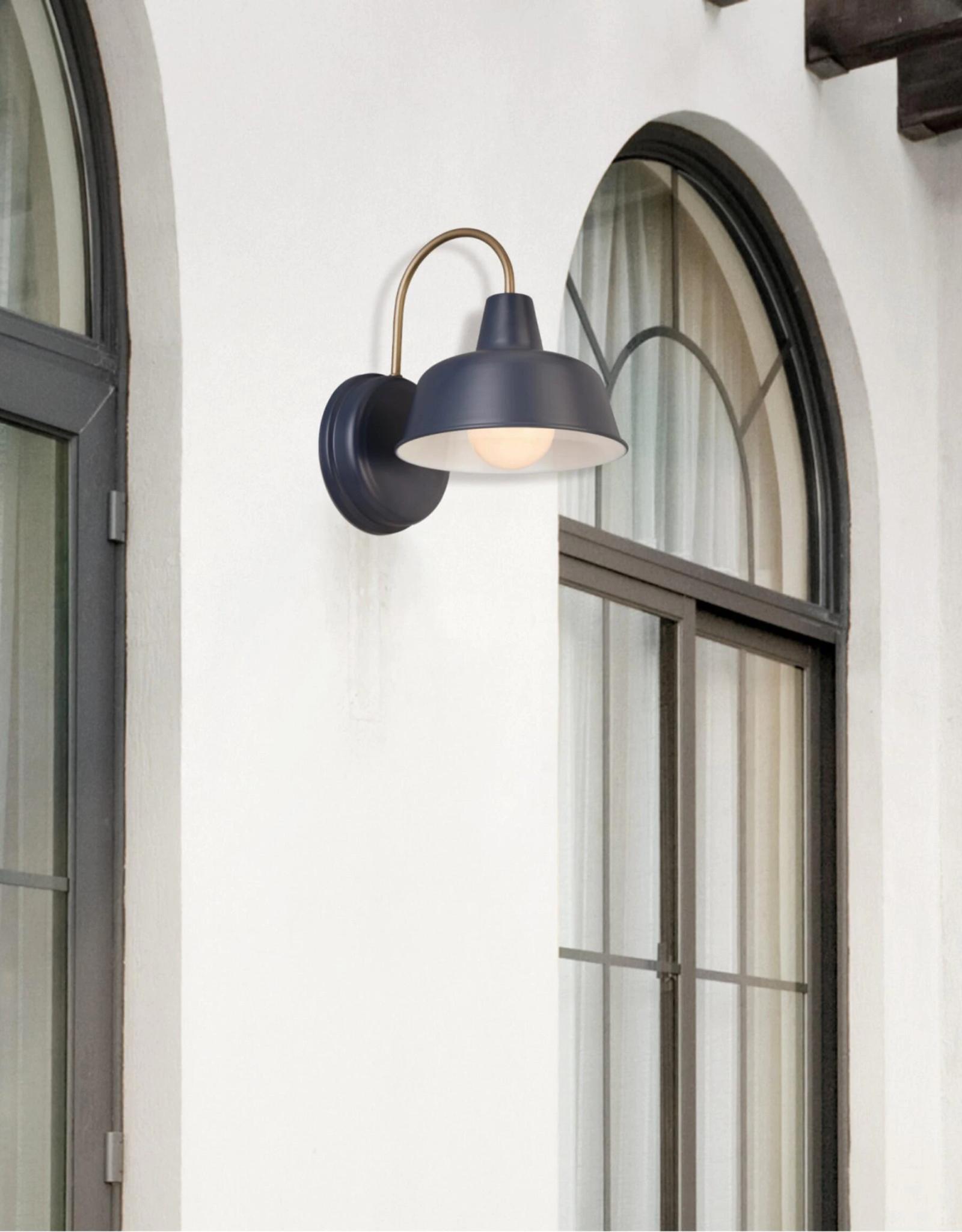 Design House Mason 1-Light Matte Navy and Gold Outdoor Wall Light Sconce