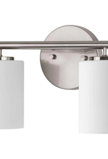 Progress Lighting Replay Collection 2-Light Brushed Nickel Etched White Glass Modern Bath Vanity Light