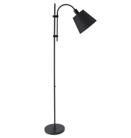 Merra 64 in. Black Adjustable Floor Lamp with Fabric Shade
