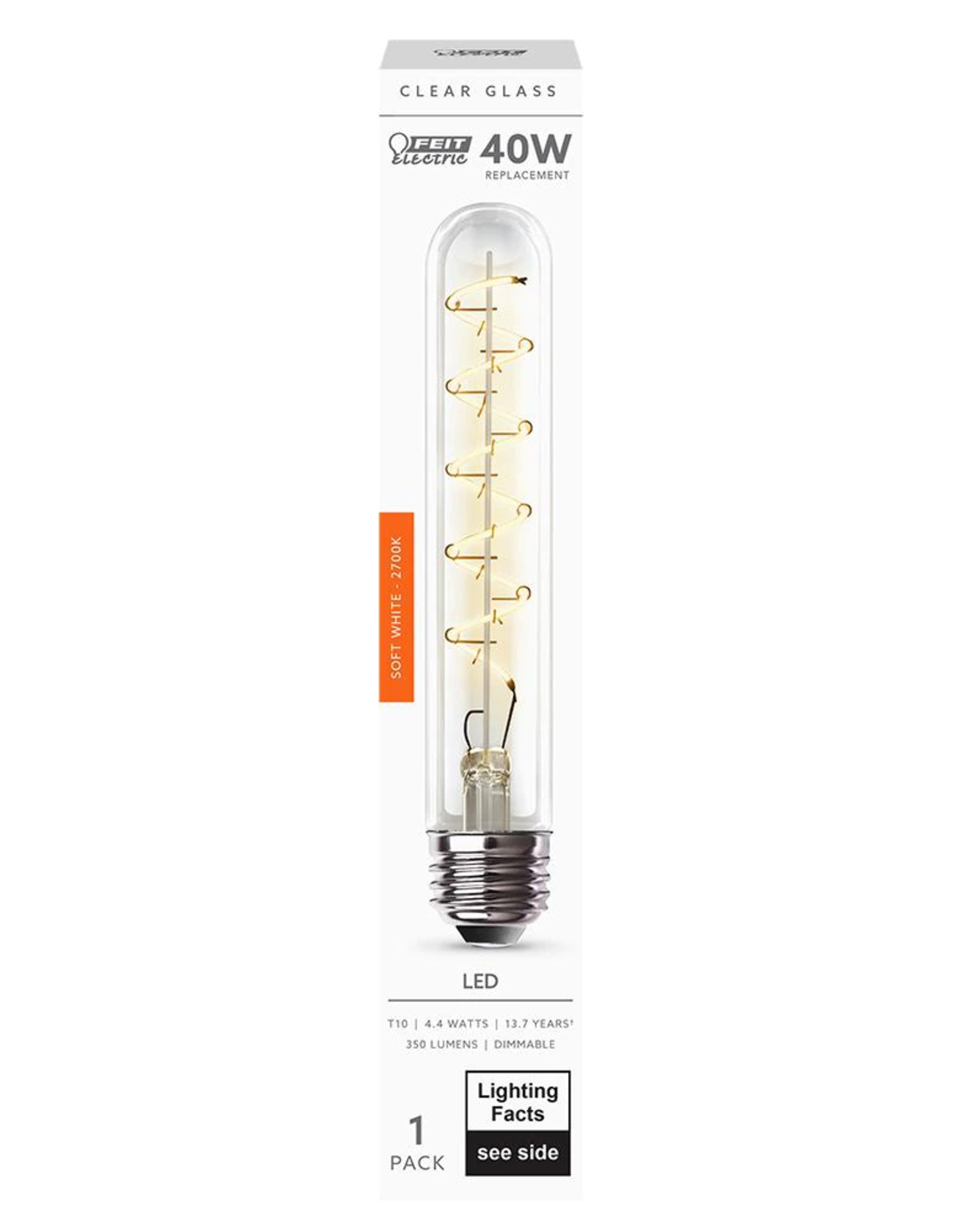 Feit Electric 40-Watt Equivalent T10 Dimmable LED Clear Glass Vintage Edison Large Light Bulb with Spiral Filament Soft White (4-Pack)
