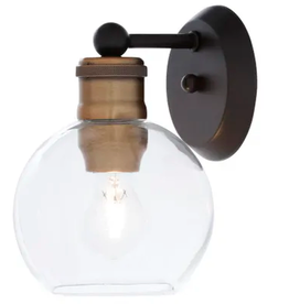 Progress Lighting Hansford Collection 1-Light Antique Bronze Clear Glass Coastal Bath Vanity Light