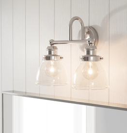Progress Lighting Laird Collection 1-Light Brushed Nickel Etched Glass Traditional Bath Vanity Light